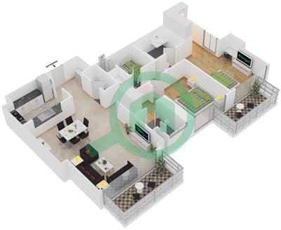 المخططات الطابقية لتصميم النموذج A1 شقة 2 غرفة نوم - برج آي غو 101