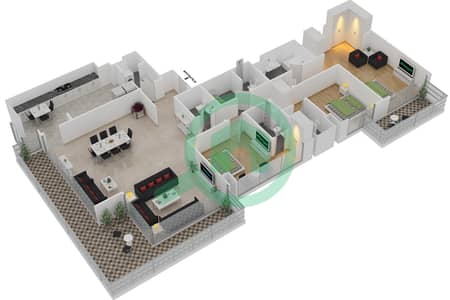 المخططات الطابقية لتصميم النموذج A1 شقة 3 غرف نوم - برج آي غو 101