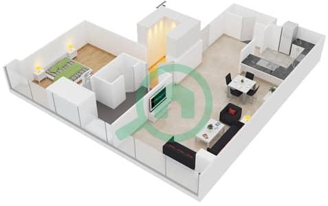 المخططات الطابقية لتصميم النموذج F شقة 1 غرفة نوم - برج لاجونا موفنبيك