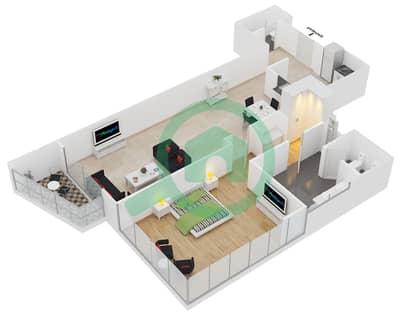 المخططات الطابقية لتصميم النموذج E شقة 1 غرفة نوم - برج لاجونا موفنبيك
