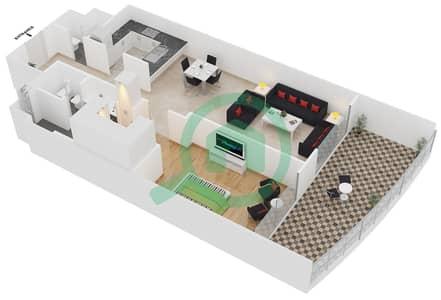 المخططات الطابقية لتصميم النموذج D شقة 1 غرفة نوم - برج لاجونا موفنبيك