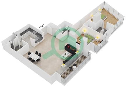 المخططات الطابقية لتصميم النموذج C شقة 2 غرفة نوم - برج لاجونا موفنبيك