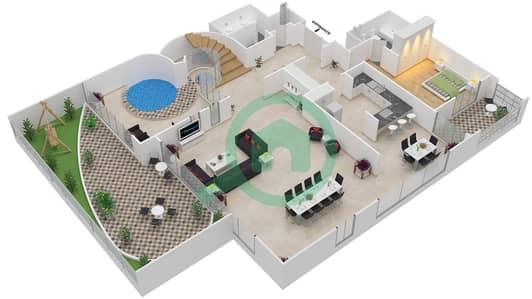 المخططات الطابقية لتصميم النموذج DUPLEX تاون هاوس 4 غرف نوم - برج بونينغتون