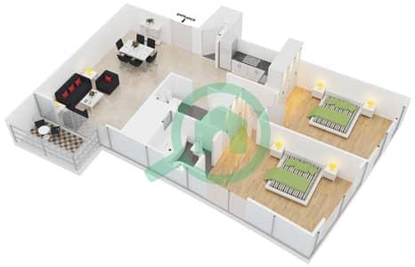 المخططات الطابقية لتصميم النموذج 1,12 شقة 2 غرفة نوم - برج ليك سيتي