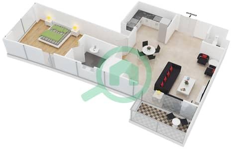 المخططات الطابقية لتصميم النموذج 6,7 شقة 1 غرفة نوم - برج ليك سيتي