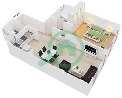المخططات الطابقية لتصميم النموذج 5,8 شقة 1 غرفة نوم - برج ليك سيتي