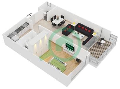 المخططات الطابقية لتصميم النموذج 4,9 شقة 1 غرفة نوم - برج ليك سيتي