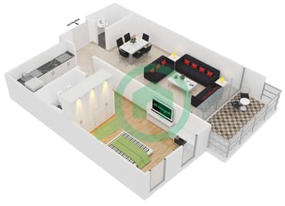 المخططات الطابقية لتصميم النموذج 2,11 شقة 1 غرفة نوم - برج ليك سيتي