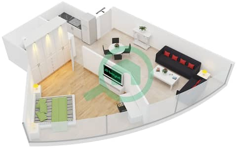 المخططات الطابقية لتصميم الوحدة 2 شقة 1 غرفة نوم - جولد كريست إكزيكيوتيف