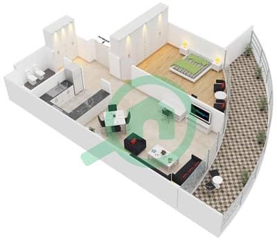 المخططات الطابقية لتصميم الوحدة 1 FLOOR 21 شقة 1 غرفة نوم - جولد كريست إكزيكيوتيف