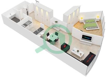 المخططات الطابقية لتصميم الوحدة 1 شقة 1 غرفة نوم - جولد كريست إكزيكيوتيف