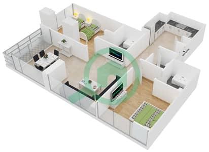 Lakeside Residence - 2 Bedroom Apartment Type F Floor plan