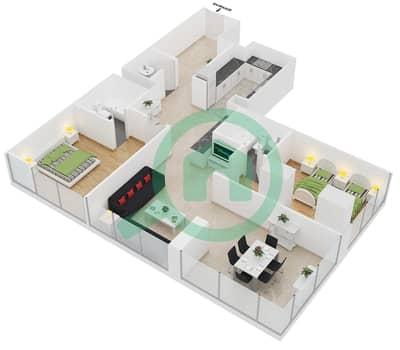 Lakeside Residence - 2 Bedroom Apartment Type E Floor plan