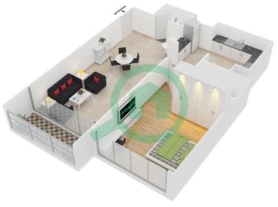 Lakeside Residence - 1 Bedroom Apartment Type D2 Floor plan