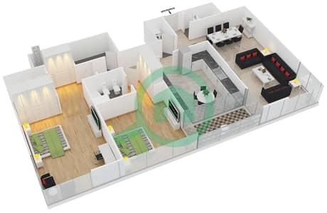 المخططات الطابقية لتصميم النموذج B شقة 2 غرفة نوم - برج تمویل