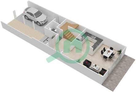 المخططات الطابقية لتصميم النموذج 3 تاون هاوس 1 غرفة نوم - الضاحية 7B
