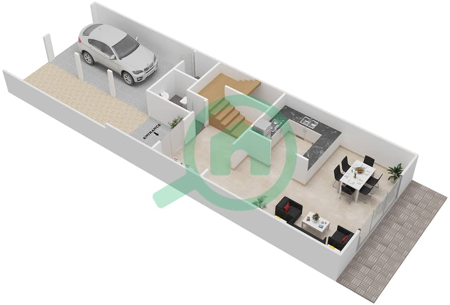 District 7B - 1 Bedroom Townhouse Type 3 Floor plan Ground Floor image3D