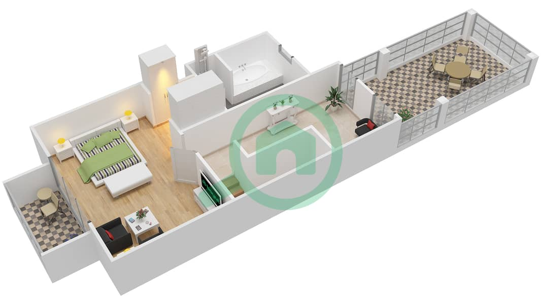 District 7B - 1 Bedroom Townhouse Type 3 Floor plan First Floor image3D
