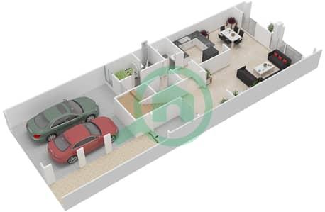 المخططات الطابقية لتصميم النموذج 2 تاون هاوس 2 غرفة نوم - الضاحية 7B