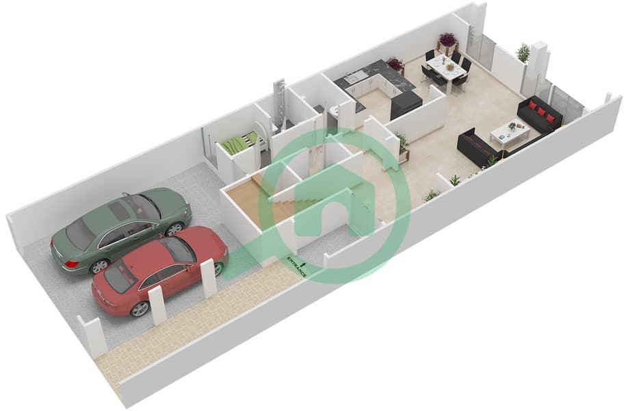 District 7B - 2 Bedroom Townhouse Type 2 Floor plan Ground Floor image3D