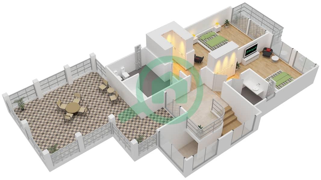 District 7B - 2 Bedroom Villa Type 1 Floor plan First Floor image3D