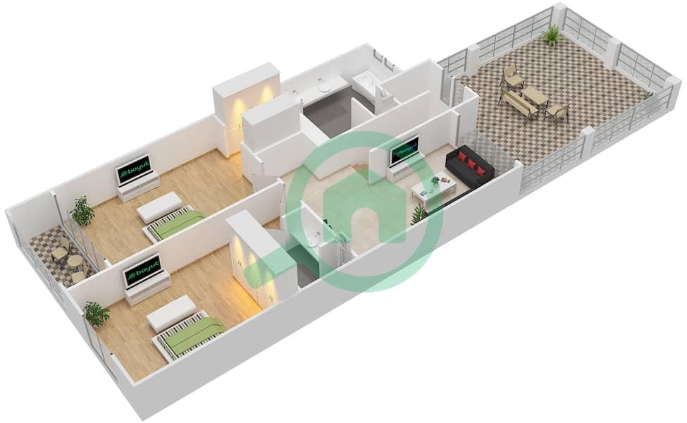 District 5C - 2 Bedroom Townhouse Type 2 Floor plan First Floor image3D