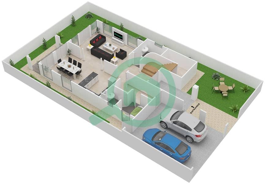 District 5C - 2 Bedroom Villa Type 1 Floor plan Ground Floor image3D