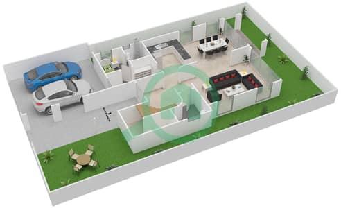المخططات الطابقية لتصميم النموذج 1 فیلا 2 غرفة نوم - فلل ميدترينيان