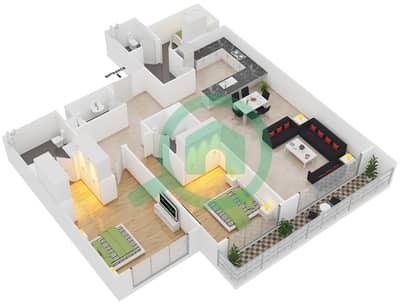 Park One - 2 Bedroom Apartment Type D Floor plan