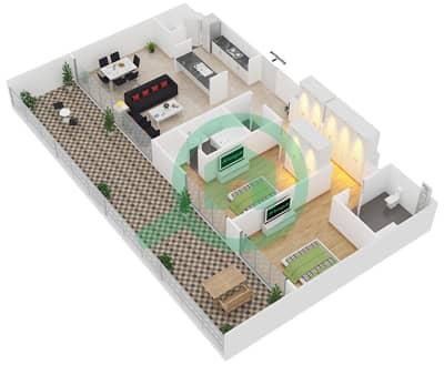 Park One - 2 Bedroom Apartment Type E Floor plan