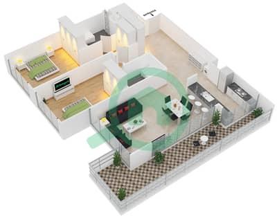 Park One - 2 Bedroom Apartment Type B Floor plan