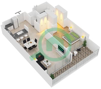 Park One - 1 Bedroom Apartment Type A Floor plan
