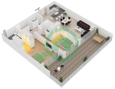 Park One - 2 Bedroom Apartment Type C Floor plan