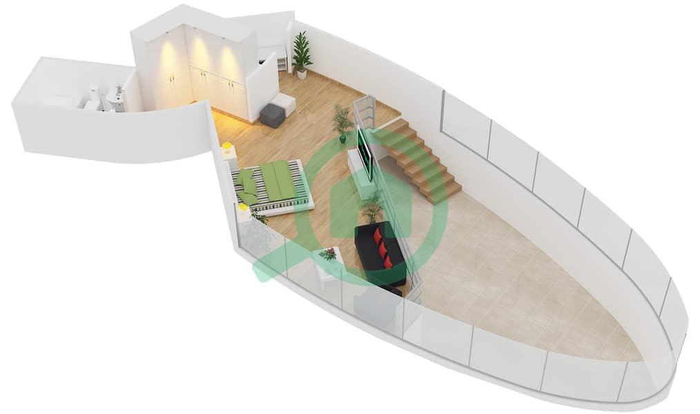 Magnolia Residence - 1 Bedroom Apartment Type L-1B-7 Floor plan Upper Floor image3D
