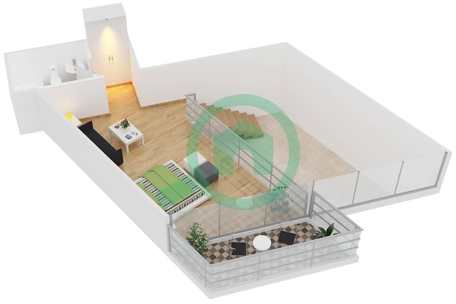 Magnolia Residence - 1 Bedroom Apartment Type L-1B-4 Floor plan Upper Floor image3D