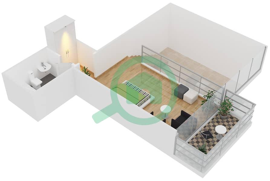Magnolia Residence - 1 Bedroom Apartment Type L-1B-3 Floor plan Upper Floor image3D