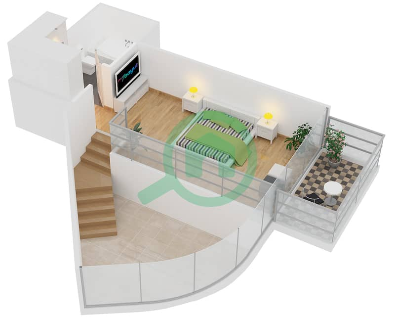 Magnolia Residence - 1 Bedroom Apartment Type L-1B-1 Floor plan Upper Floor image3D