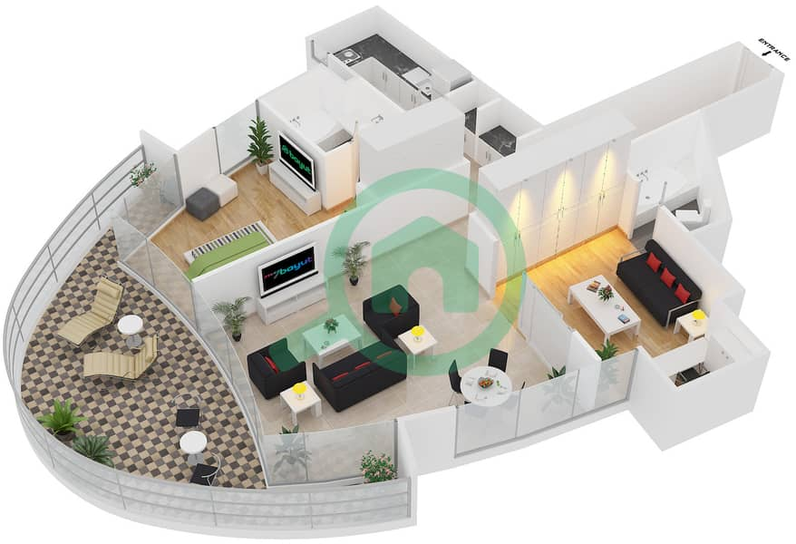 Magnolia Residence - 1 Bedroom Apartment Type T-1B-5 Floor plan image3D