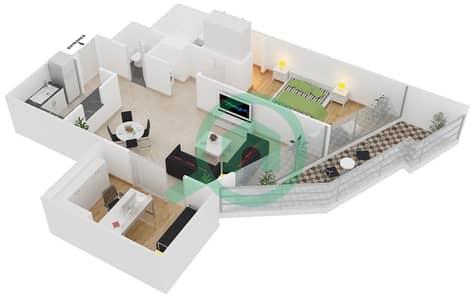 Magnolia Residence - 1 Bedroom Apartment Type T-1B-4 Floor plan
