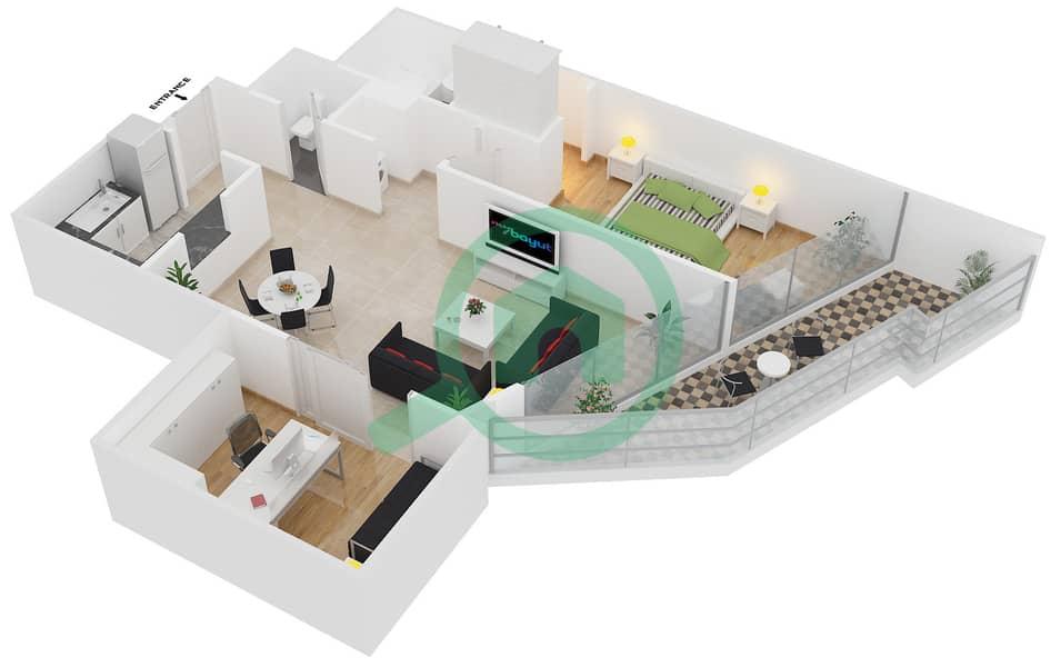Magnolia Residence - 1 Bedroom Apartment Type T-1B-4 Floor plan image3D