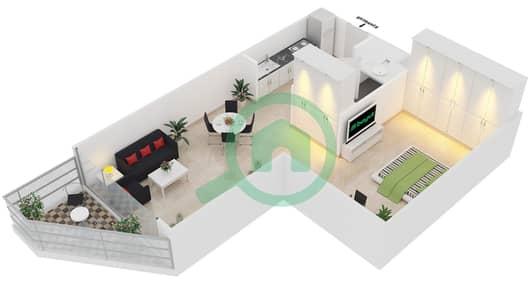 Magnolia Residence - Studio Apartment Type T-S-4 Floor plan