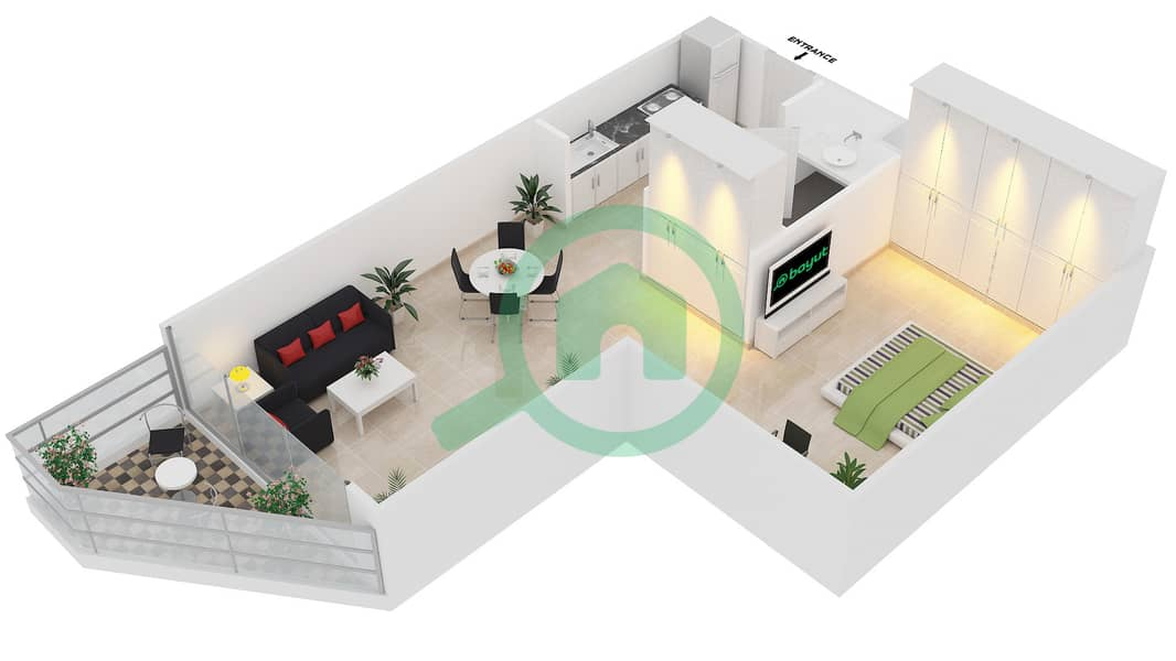 Magnolia Residence - Studio Apartment Type T-S-4 Floor plan image3D