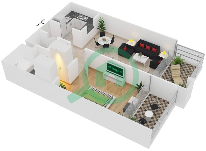 Magnolia Residence - 1 Bedroom Apartment Type T-1B-3 Floor plan image3D