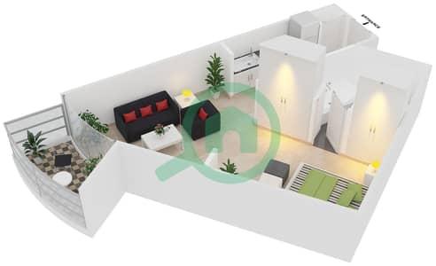 Magnolia Residence - Studio Apartment Type T-S-3 Floor plan