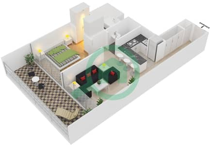 Magnolia Residence - 1 Bedroom Apartment Type T-1B-2 Floor plan