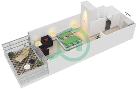 Magnolia Residence - Studio Apartment Type T-S-2 Floor plan