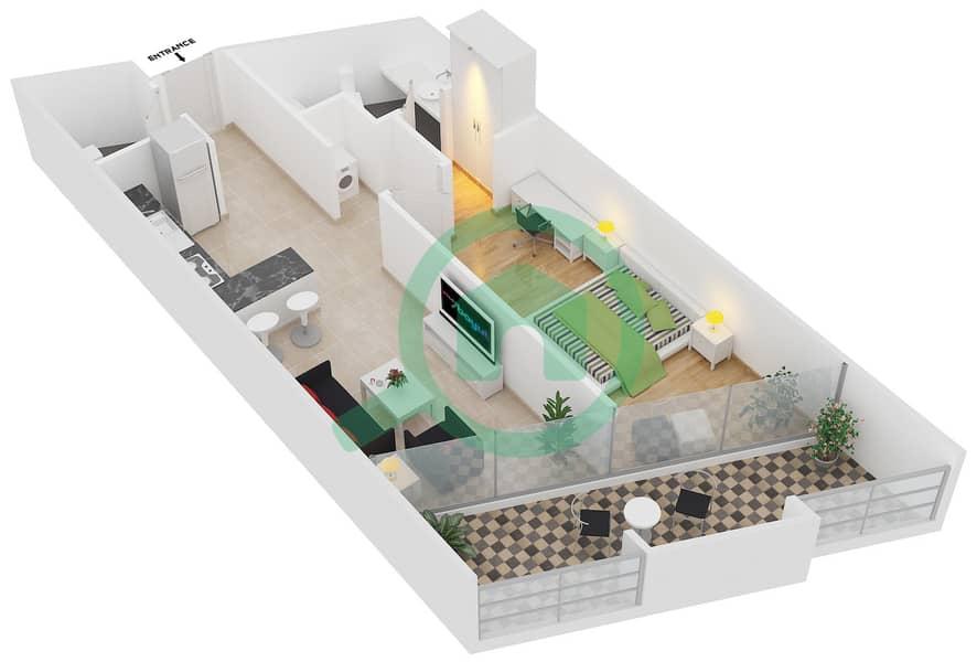 Magnolia Residence - 1 Bedroom Apartment Type T-1B-1 Floor plan image3D