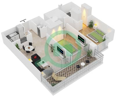 Magnolia Residence - 2 Bedroom Apartment Type T-2B-1 Floor plan