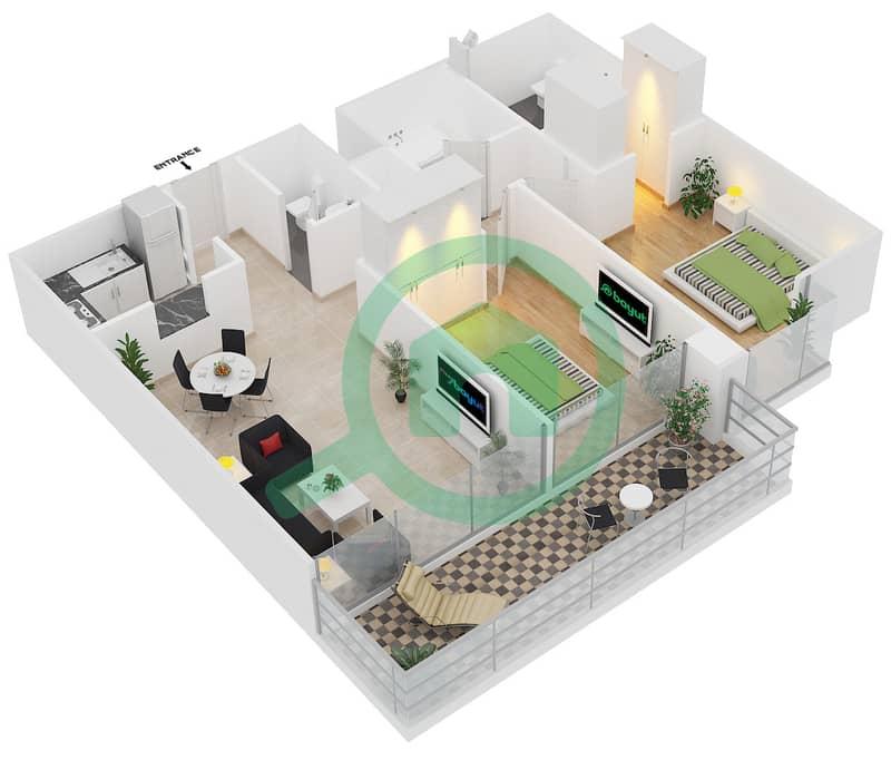 Magnolia Residence - 2 Bedroom Apartment Type T-2B-1 Floor plan image3D