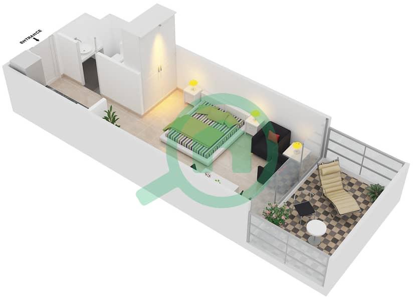 Magnolia Residence - Studio Apartment Type T-S-1 Floor plan image3D